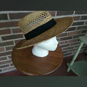 Other - Vintage Men's Straw Hat w/ Black Band Size Medium